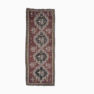 Handgeknüpfter türkischer Vintage 5x13 Oushak Kelim Teppich aus roter Wolle