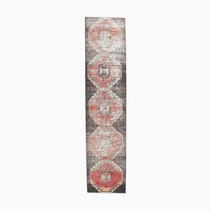 3x12 Antique Turkish Oushak Handmade Black Wool Runner Rug
