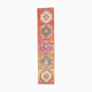 3x12 Handgemachter türkischer Vintage Oushak Teppich aus bunter Wolle
