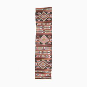 3x12 Vintage Turkish Oushak Handmade Wool Kilim Runner Rug