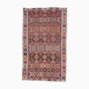 Handgeknüpfter türkischer Vintage 7 × 12 Oushak Kelim Teppich aus roter Wolle