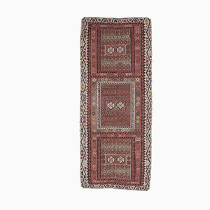 6x13 Vintage Turkish Oushak Handmade Red Wool Kilim Area Rug