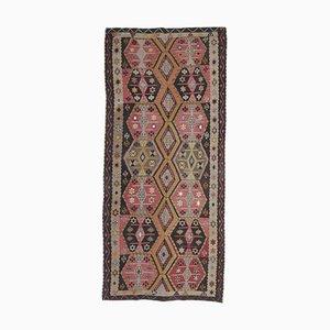 5x11 Türkischer Vintage Oushak Kelim Teppich aus handgewebter Wolle