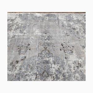 8x12 Handgemachter Antiker Türkischer Oushak Teppich aus Grauer Wolle