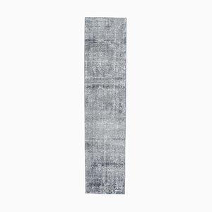 2x8 Turkish Oushak Handmade Navy Blue Wool Low Pile Runner Rug