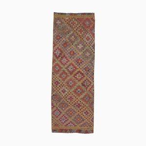 Handgeknüpfter türkischer Vintage 2x7 Oushak Kelim Läufer aus Wolle