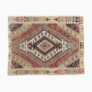 Flachgewebter 3x4 türkischer Vintage Kilim Oushak Teppich aus handgewebter Wolle