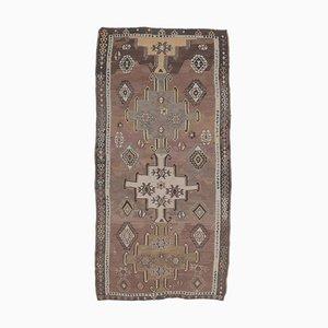 5x9 Vintage Turkish Kilim Oushak Handmade Wool Rug in Brown
