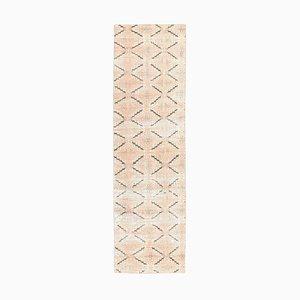Türkischer Vintage 2 × 8 Oushak Teppich aus Wolle und Ikat