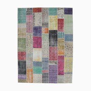 Tappeto patchwork 8US12 vintage fatto a mano di Oushak, Turchia
