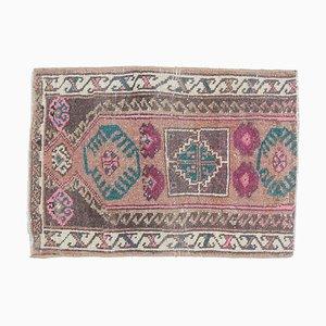 2x2 Vintage Turkish Oushak Handmade Tribal Brown Wool Rug