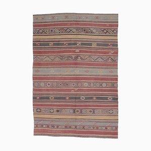 6x9 Vintage Turkish Oushak Handmade Red Wool Kilim Area Rug