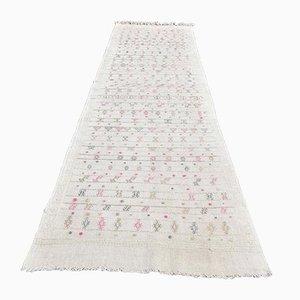 3x9 Türkischer Vintage Kilim Ouschak Handgewebter Flachgewebe Teppich aus Wolle