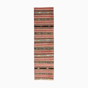 3x10 Vintage Turkish Oushak Handmade Wool Kilim Runner Rug