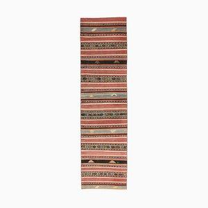 Tappeto Kilim Runner vintage fatto a mano di lana Oushak, Austria