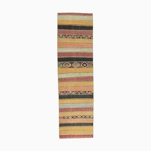 2x9 Vintage Turkish Oushak Handmade Wool Kilim Runner Rug