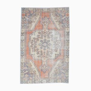 4x7 Antique Middle East Oushak Handmade Wool Oriental Carpet