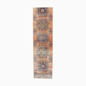 3x10 Türkischer Vintage Oushak Handgeknüpfter Läufer Teppich aus Orange
