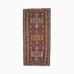 6x13 Türkischer Vintage Oushak Handgeknüpfter Kilim Teppich aus roter Wolle
