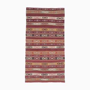 Tappeto 5x9 Tappeto Kilim Oushak di lana rossa fatto a mano, Turchia
