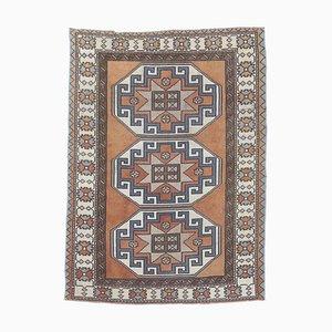 4x5 Vintage Turkish Oushak Handmade Wool Carpet in Orange