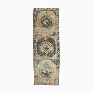 Tappeto da ingresso Oushak vintage in lana fatto a mano 3x10