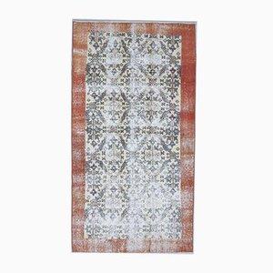 3x6 Handgemachter türkischer Vintage Oushak Teppich aus Wolle mit floralem Muster