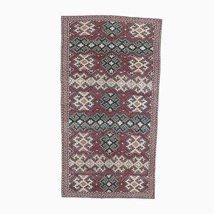 Tappeto Oushak vintage fatto a mano in lana 4x7 vintage, Turchia