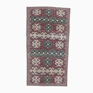 Türkischer Vintage Eclectic Oushak Handgemacht Teppich aus Wolle
