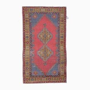 Türkischer Vintage Oushak Handgemachtes Ethno Teppich aus Wolle