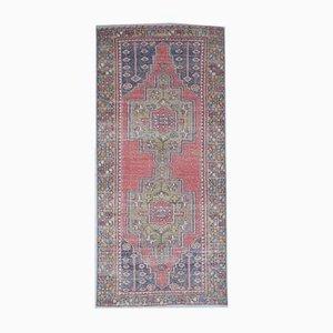 Türkischer Vintage Oushak Vintage von Handgemachtem Wollteppich in Rot. 4er Set
