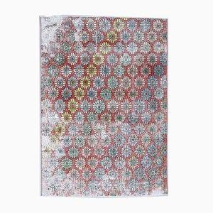 4x5 Vintage Turkish Oushak Handmade Wool Carpet in Red