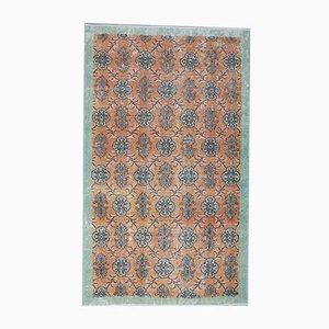 Handgeknüpfter türkischer Vintage Oushak Teppich aus Wolle mit 4 x 7 Motiven