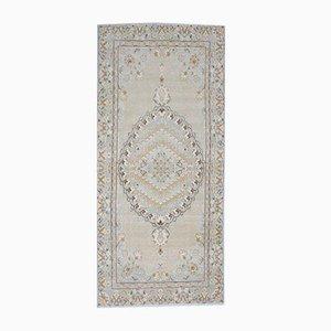 3x8 türkischer Vintage Oushak Teppich aus Wolle mit orientalischer Musterung