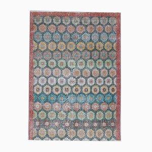 Tappeto da giardino piccolo Oushak 4x5 vintage in lana fatta a mano, Turchia