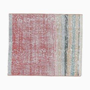 2x2 Vintage Turkish Oushak Doormat or Small Carpet
