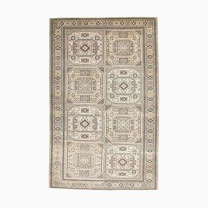 Handgeknüpfter Türkischer Vintage Oushak Teppich mit 5x8 Feldern in Hellbeige & Beige
