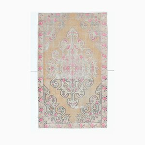 4x7 Vintage Middle East Oriental Damask Handwoven Wool Small Rug