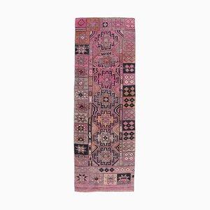 Türkischer Vintage Oushak Vintage 3x9 Läufer Teppich aus Rosa Wolle