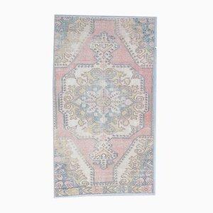 3x6 Vintage Middle East Oushak Handmade Wool Rug in Pink & Beige