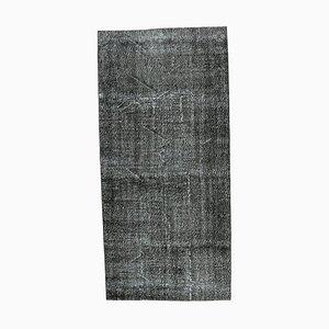 Handgemachter türkiser Vintage 4 × 9 Oushak Teppich aus schwarzer Wolle