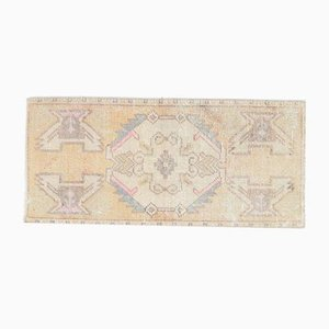 1x3 Türkische Vintage Oushak Fußmatte oder Kleiner Teppich