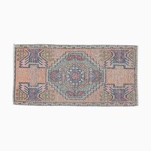 2x3 Vintage Turkish Oushak Orange Doormat or Small Carpet