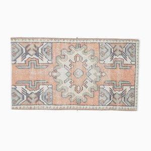 1x3 Vintage Turkish Oushak Doormat or Small Carpet