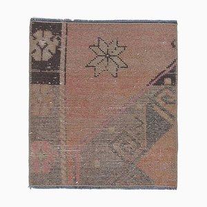2x2 Vintage Turkish Oushak Handmade Wool Square Rug or Doormat