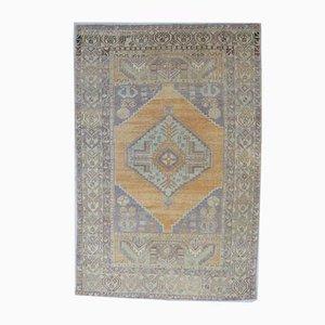 Orientalischer türkiser Mid-Century Oushak Handgemachter türkiser Vintage Teppich aus handgemachter türkiser Seide