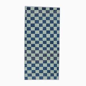 3x6 Handgewebter türkischer Vintage Oushak Checkers Teppich aus Wolle