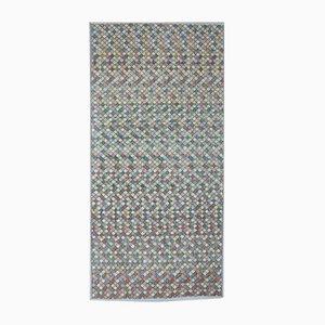 4x8 Vintage Turkish Oushak Checked Handmade Wool Carpet