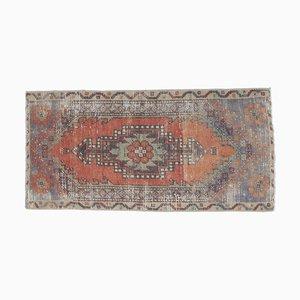 2x3 Vintage Turkish Oushak Orange & Red Small Doormat