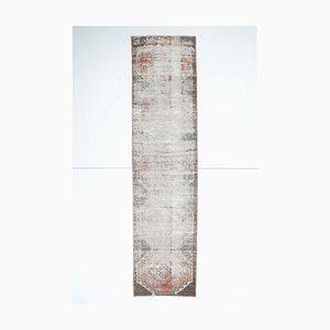 3x11 Antiker Türkisch Oushak Handgewebter Läufer Teppich aus neutraler Wolle